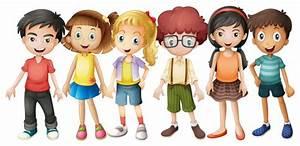 Niños, niñas, posición, grupo, ilustración Descargar Vectores gratis