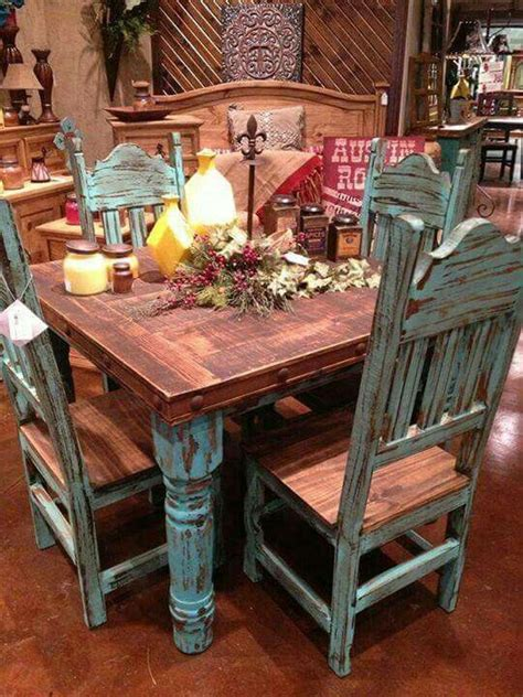 teal kitchen table turquoise dining set a western rustic home home decor