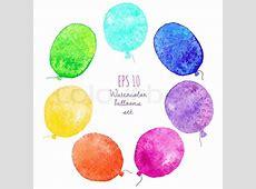 Reihe von bunten Luftballons in Aquarell gemalt