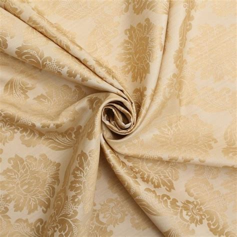 floral damask dupion slubbed faux silk curtain fabric
