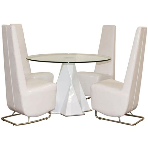 furniture futuristic white dining with high rounded gass