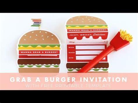lets grab  burger invitation design  yay party