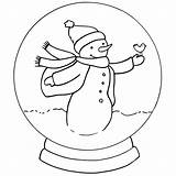 Coloring Snow Snowglobe Globe Globes Snowman Template Drawing Draw Adult Sheets Cartoon sketch template
