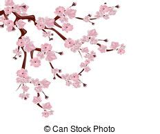Pink cherry blossom branch on green grunge background