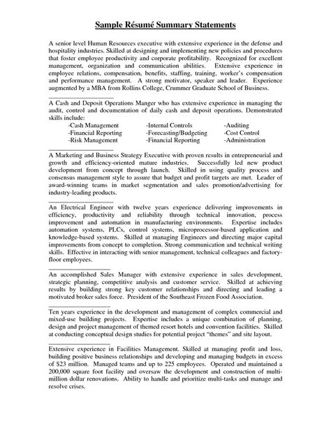 Sle Resume Summary Statements For Project Manager by Sle Resume Summary Statements Statement Exles