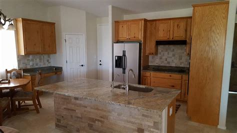 natural stone accent  remodeled kitchen island san tan