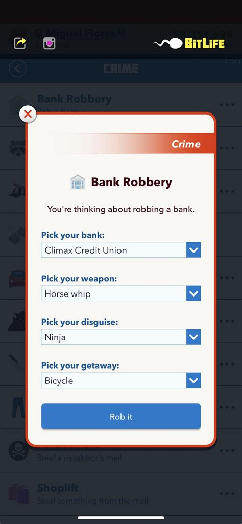 bank rob successfully bitlifeapp comments