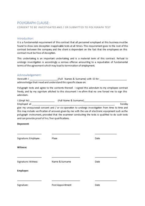 Employee Contract Addendum Regarding Polygraph Test | Templates at allbusinesstemplates.com