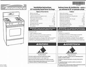 Kenmore 66572169302 User Manual Free Standing Gas Manuals