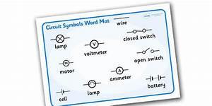 Electricity Circuit Symbols Word Mat