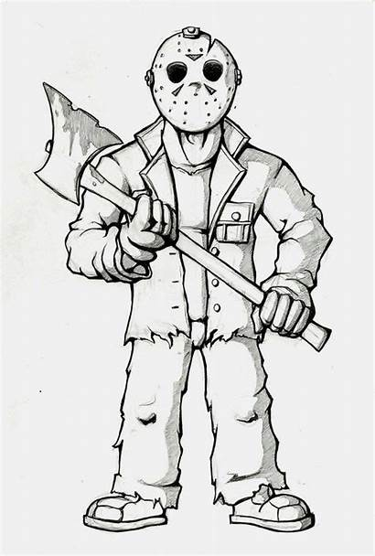 Coloring Pages Jason Friday 13th Scary Printable