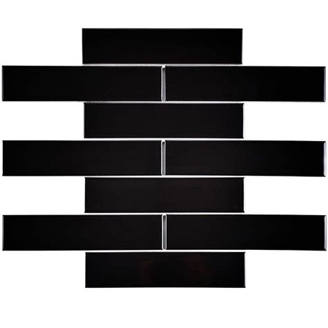 black gloss ceramic floor tiles merola tile metro soho subway glossy black 1 3 4 in x 7 3 4 in porcelain floor and wall tile