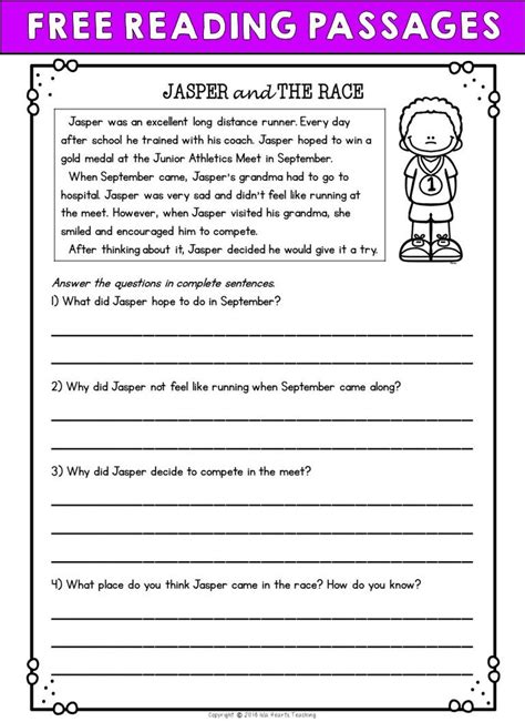 printable eighth grade reading comprehension