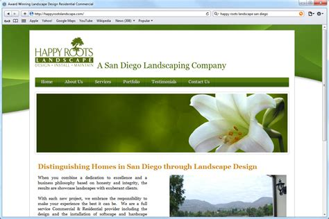 design homepage website development happy roots landscaping mito studios mito studios