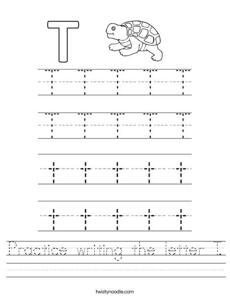practice writing the letter t worksheet twisty noodle