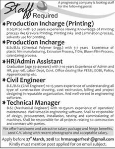 Production Incharge, HR Admin Assistant, Civil Engineer ...