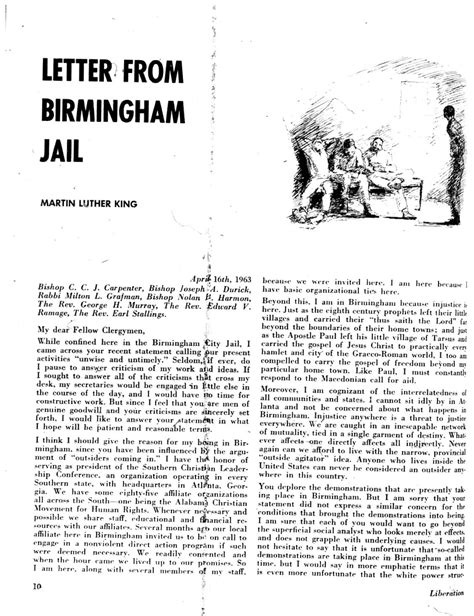 letter from birmingham jail the first page of quot letter