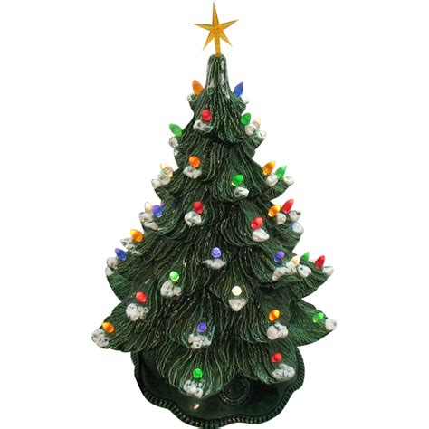 vintage ceramic christmas tree with faux plastic lights