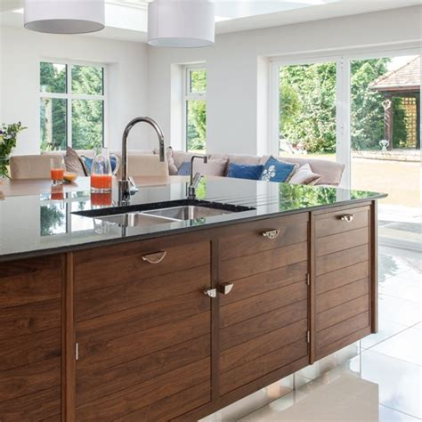 White Kitchen With Walnut Island Unit  Kitchen Decorating