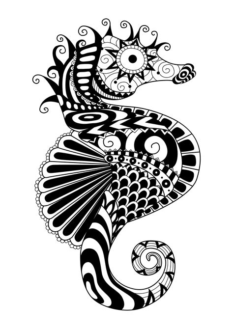 Zentangle sea horse - Water worlds Adult Coloring Pages