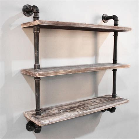 and the shelf rustic industrial diy floating pipe shelf