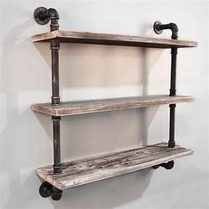 Rustic, Industrial, Diy, 3, Levels, Floating, Pipe, Shelf, 92, Cm