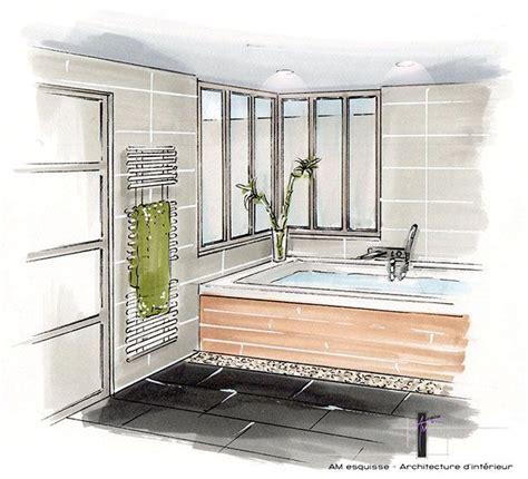 croquis de chambre perspective de la salle de bain avec verrière donnant sur