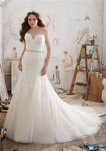 fitted a line strapless tulle lace plus size wedding dress With fitted plus size wedding dresses