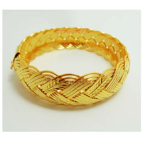 braid 22k 23k 24k thai baht yellow gold plated filled bracelet bangle ebay
