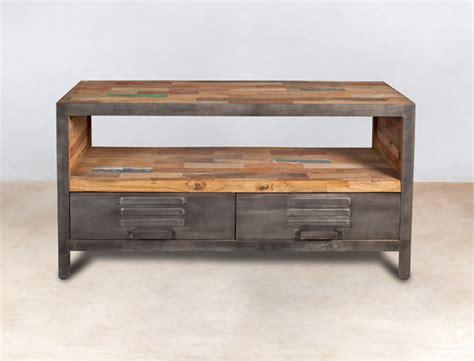 meuble tv en bois recycl 233 s avec 2 tiroirs m 233 tal industryal