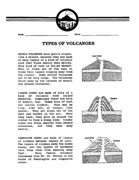 12 best images of types of volcanic eruptions worksheet