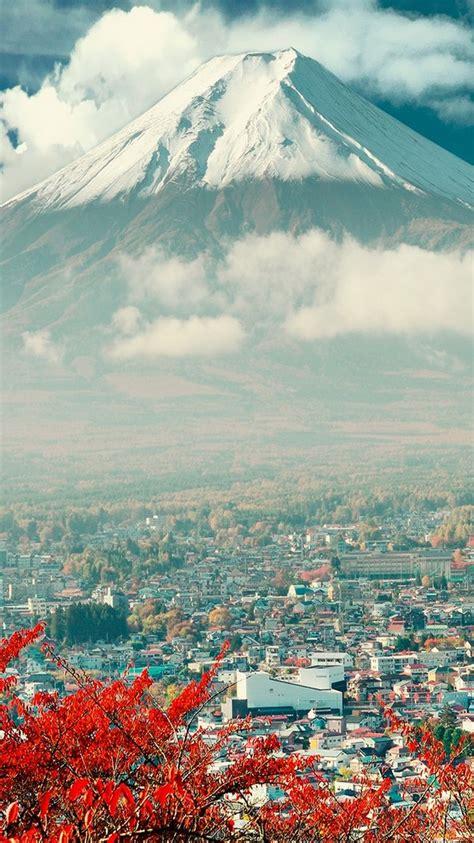 mount fuji japan city iphone  wallpaper iphone
