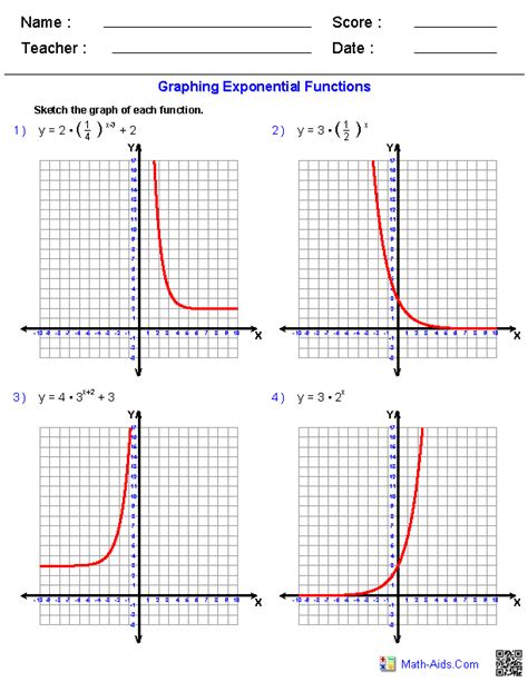 graphing exponential functions worksheets math aids
