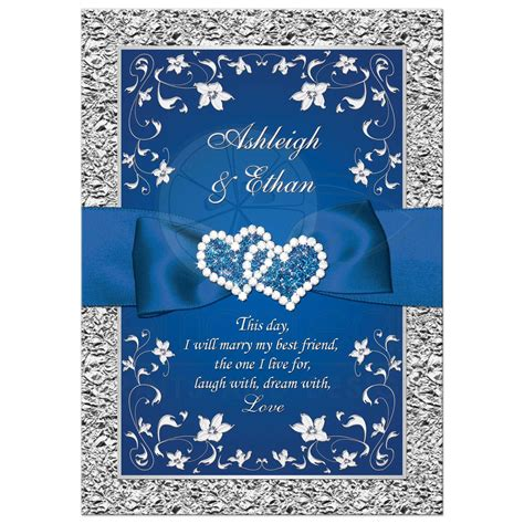 royal blue wedding invitation faux foil silver floral