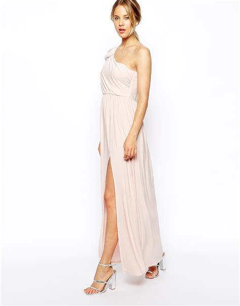asos drape dress lyst asos one shoulder drape maxi dress in pink
