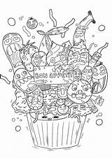 Doodle Coloring Pages Doodling Cupcake Children Dessert Adults Drawing Simple Adult Artist Printable Theme Icing Huge Going Favorite Bon Artists sketch template