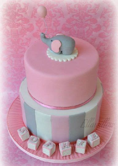 384 X 540 Pink Elephant Baby Shower Cake