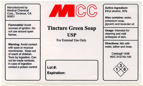 tincture green soap liquid medical chemical corporation