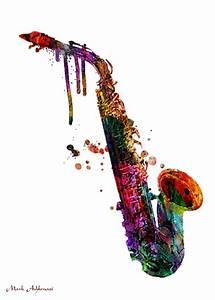 Saxophone 2 Painting by Mark Ashkenazi