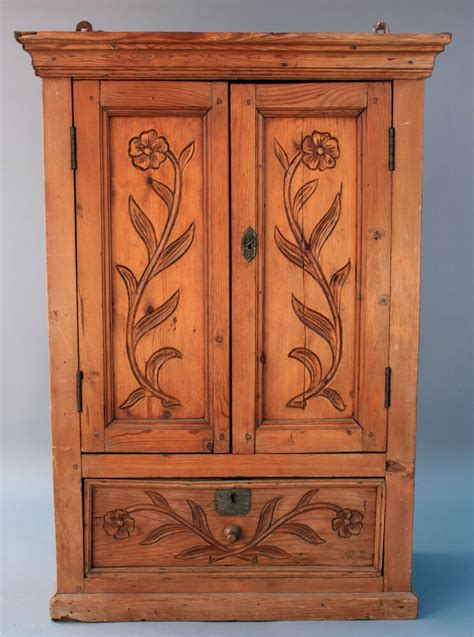 antique mexican spanish revival wood wall cabinet