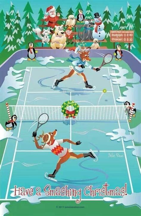 whimsical tennis themed christmas card  images