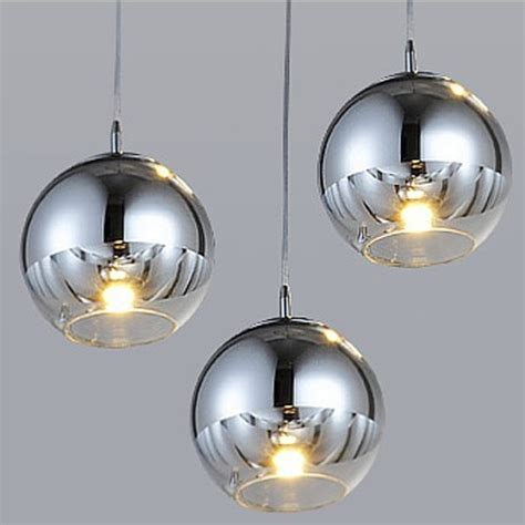 Modern Plated Ball Glass Lampshade LED Pendant Lights