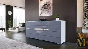Kleiderschrank Weiß Grau : sideboard kommode tv board schrank anrichte pl n wei hochglanz naturt ne ebay ~ Buech-reservation.com Haus und Dekorationen