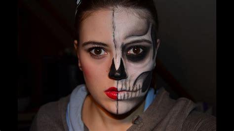 skelett gesicht schminken half skull doll