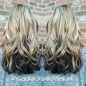 Highlights and lowlights. Blonde on top dark underneath. L ...