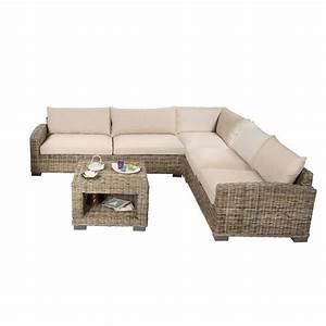 salon d39angle en rotin canape d39angle en rotin et table With tapis design avec canapé en osier tressé