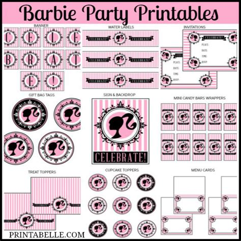 barbie birthday party printables party printables games