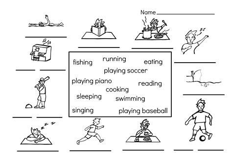 sports worksheets for kiddo shelter