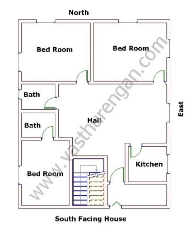 south facing houses vastu plan  vasthurengancom
