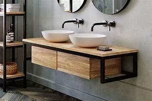 Unterschrank Bad Hängend : waschtischunterschrank loft aus teak metall schwarz 140 cm spa ambiente ~ Watch28wear.com Haus und Dekorationen